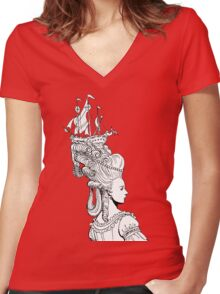 Girl With Ship Women's Fitted V-Neck T-Shirt