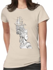 Girl With Ship Womens Fitted T-Shirt