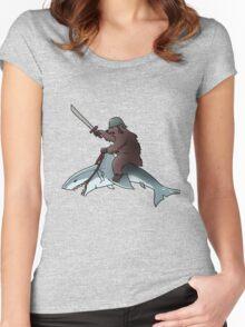 Bear riding a shark Women's Fitted Scoop T-Shirt