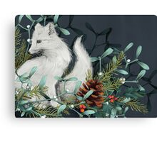 Arctic Fox Holiday Portrait Canvas Print