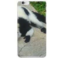 """Black and White Ruffled Lemurn"" Artwork by Carter L. Shepard iPhone Case/Skin"