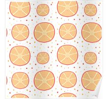 Pattern with fresh grapefruit slices Poster