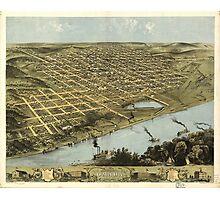 Bird's Eye View Map of Omaha Nebraska (1868) Photographic Print