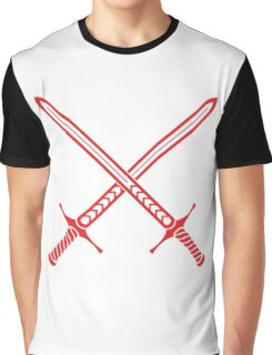 Crossed Swords Tattoo Design - Red Graphic T-Shirt