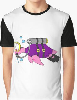 Illustration of a Loch Ness Monster scuba diver. Graphic T-Shirt
