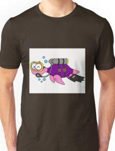 Illustration of a Loch Ness Monster scuba diver. Unisex T-Shirt