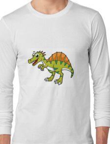 Cute illustration of a smiling Spinosaurus. Long Sleeve T-Shirt