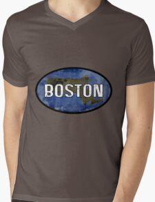 Boston Blue Mens V-Neck T-Shirt