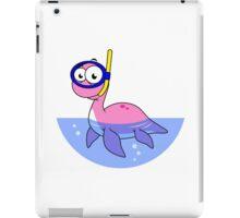 Illustration of a snorkeling Loch Ness Monster. iPad Case/Skin