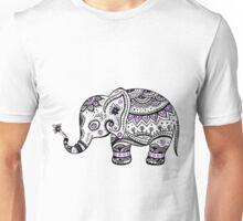 Black With Purple Diamonds Floral Elephant Unisex T-Shirt