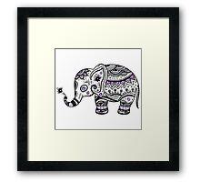 Black With Purple Diamonds Floral Elephant Framed Print