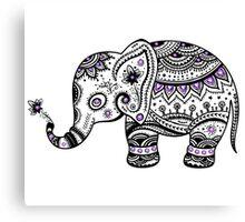 Black With Purple Diamonds Floral Elephant Canvas Print