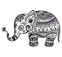 Black With Purple Diamonds Floral Elephant Photographic Print