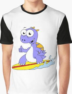 Illustration of a surfing Spinosaurus. Graphic T-Shirt