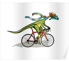 Illustration of an Anabisetia dinosaur riding a bicycle. Poster