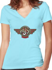 Classic British Motorcycle - AJS Women's Fitted V-Neck T-Shirt