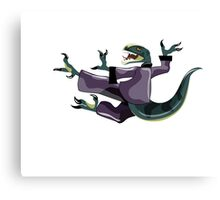 Illustration of a Raptor performing karate. Canvas Print