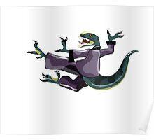 Illustration of a Raptor performing karate. Poster