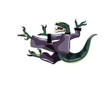 Illustration of a Raptor performing karate. Photographic Print