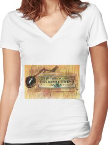 Polar Express Bell and Ticket Women's Fitted V-Neck T-Shirt