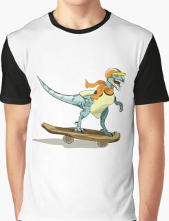 Illustration of a raptor skateboarding. Graphic T-Shirt