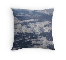 Flying Over the Snow Covered Rocky Mountains Throw Pillow