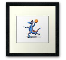 Illustration of an Iguanodon playing basketball. Framed Print