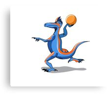 Illustration of an Iguanodon playing basketball. Canvas Print