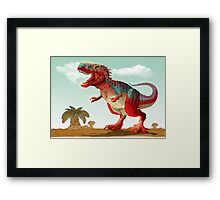 Colorful illustration of an angry Tyrannosaurus Rex. Framed Print