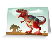 Colorful illustration of an angry Tyrannosaurus Rex. Greeting Card