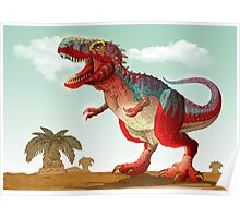 Colorful illustration of an angry Tyrannosaurus Rex. Poster