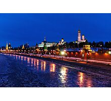 Moscow Kremlin on a Winter Night Photographic Print