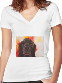 Flat Coated Retriever Women's Fitted V-Neck T-Shirt