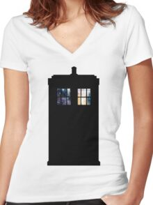 Anywhere in Time and Space Women's Fitted V-Neck T-Shirt