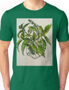 Basil. A pungent and delicious herb. Pen & wash. 21cmx28cm 2012Ⓒ Unisex T-Shirt