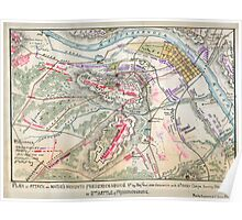 Civil War Maps 1304 Plan of attack on Marie's Heights Fredericksburg Va or 2nd Battle of Fredericksburg By Maj Genl John Sedgwick with 6th Army Corps Sunday May 3rd 1863 Poster