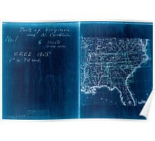 Civil War Maps 2136 Map of Virginia and North Carolina from the coast to the Blue Ridge 02 Inverted Poster