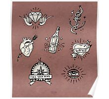 Old school tattoo drawings Poster