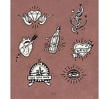 Old school tattoo drawings Photographic Print