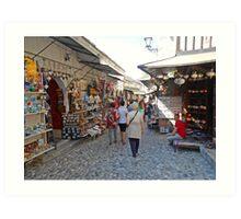 Shops in Mostar Art Print