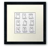 Nine cute white kittens Framed Print