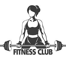 Woman with Barbell Fitness Emblem by devaleta