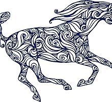 silhouette of running horse fillid with abstract pattern by Nadiiaz