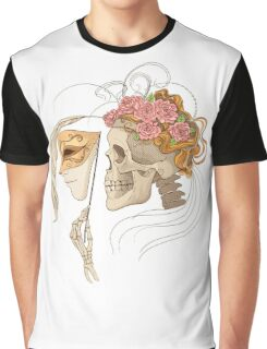 colorful illustration with skull holding a human face maskcolorful illustration with skull holding a human face mask Graphic T-Shirt