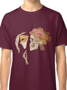 colorful illustration with skull holding a human face maskcolorful illustration with skull holding a human face mask Classic T-Shirt