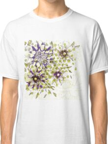 Painted Floral Purple Green Classic T-Shirt