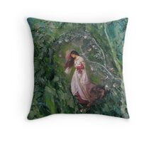 Girl in the woods.2 Throw Pillow