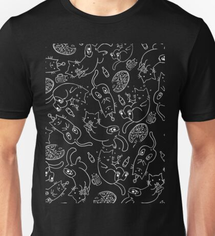 Cat Party (White on Black) Unisex T-Shirt