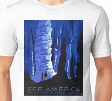 Vintage Blue Carlsbad Caverns WPA Travel Poster Unisex T-Shirt
