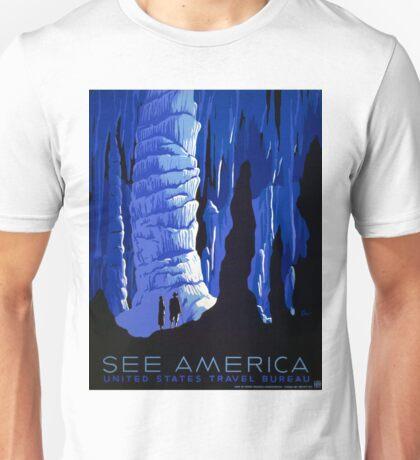 Vintage Blue Carlsbad Caverns WPA Travel Poster Unisex T-Shirt